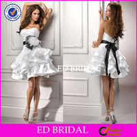 2588 Black Detachable Belt Dress Bridal Open Back 2014 Sexy Short Wedding Dresses