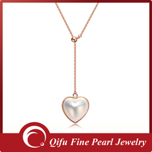 18K rose gold heart shape charming mabe pearl necklace without stone