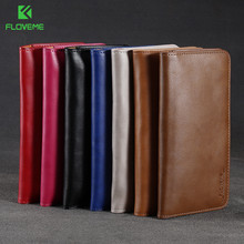 5.5 Inches Universail Cell Phone Bag FLOVEME Case PU+ Genuine Leather Phone Wallet With Card Holder for Iphone 8/7/7 plus