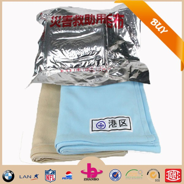 High quality cheap emergency disaster relief blanket 100%polyester relief blankets/Fine workmanship flame Retardant blankets