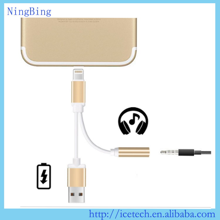 2 in 1 3.5mm Earphone Headphone Jack Adapter Connector Convertor <strong>Cable</strong> Aux For iPhone 7 Plus