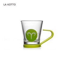 90ML mini espresso coffee /cafe mug with stainless steel handle, color handle and decal, for gift