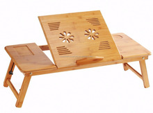 100% Bamboo Tablet Desk Breakfast Serving Bed Tray with Drawer