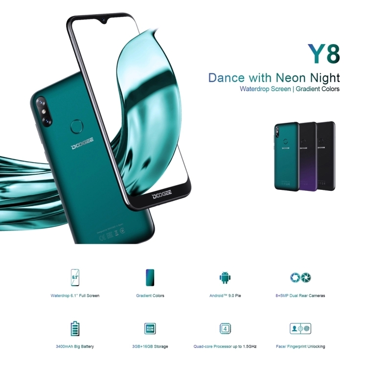 Water-drop Screen smartphone DOOGEE Y8 6.1 inch Android 9.0 mobile phone 3GB+32GB Face ID & DTouch Fingerprint