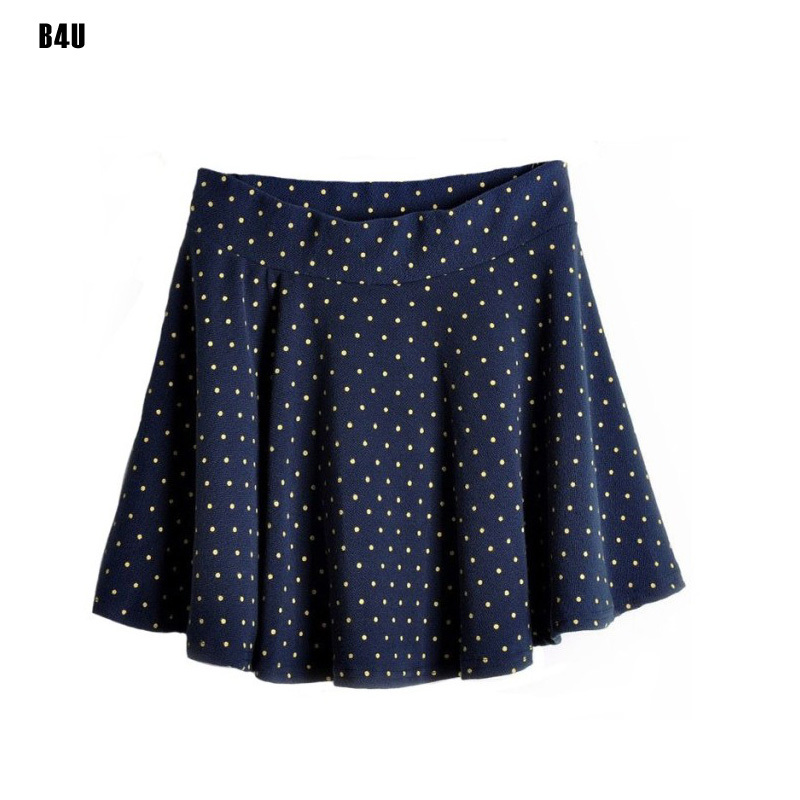 New Fashion Sweet Girl Women Retro Pleated Polka Dot Skirt Blue Black Red Gray Summer Vintage Skirts Free Shipping VD0065
