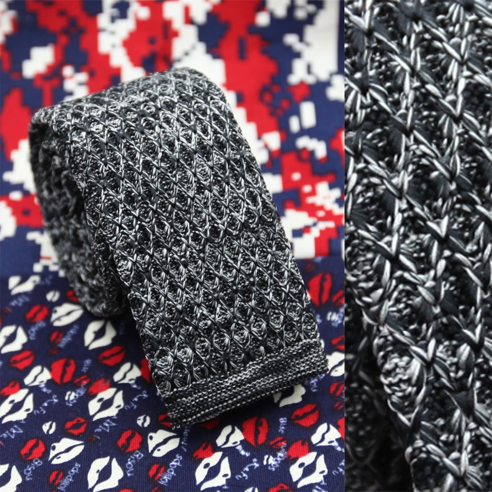 mixed color black grey with mesh pattern knitted necktie