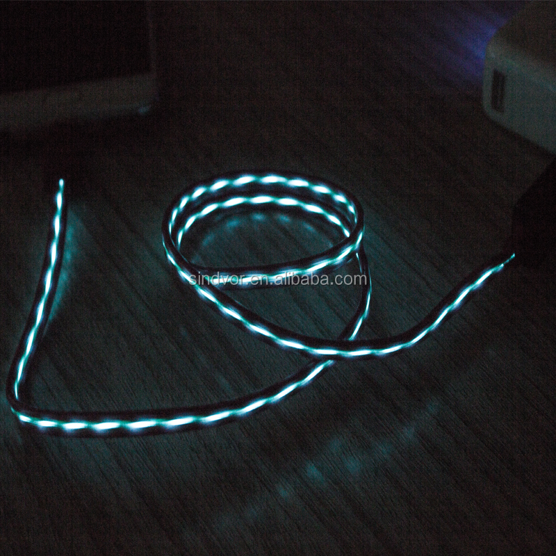2017 Light Wire Cable Colorful 3ft/ 1m PVC LED Light 2A Micro USB Data Cable