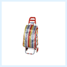 Stock folding shopping trolley bag with 2 wheels cheap price