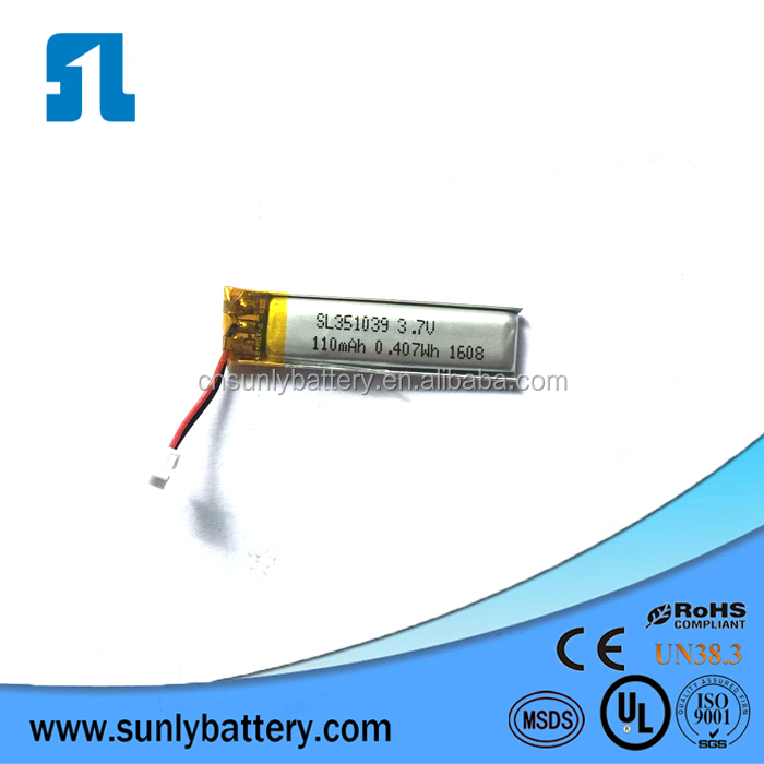UL certification Small battery cell 3.7v 110mah lithium polymer battery 351039 for Electric Toys