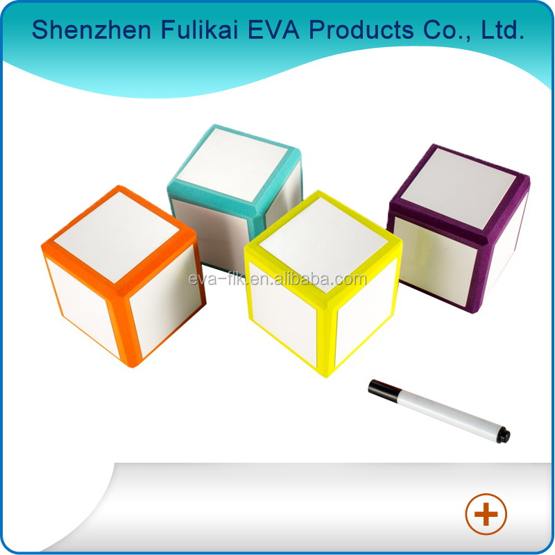 Custom Soft EVA Foam Cube Dice EVA Foam Dry Eraser Dice with Pen