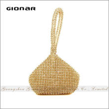 Sparking Gold Handle Lady Peacock Clear Clutch Designer Evening Crystal Bag