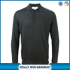 Mens soft grey wool-silk blend long sleeve polo shirt