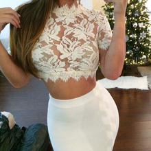 Spring Hollow Lace Tops Women Sexy Short Women Blouse
