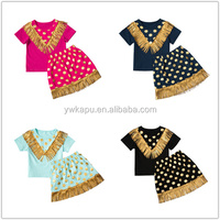Summer Wholesale Kids Clothes short sleeves Lovely top and baptismdress little baby set with gold tassels cotton clothing
