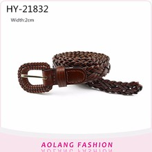 Wholesale Fashion Braided weave Belt With PU Pin Buckle for women or men