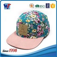 Custom hawaii floral printing snapback cap hat with leather logo patch