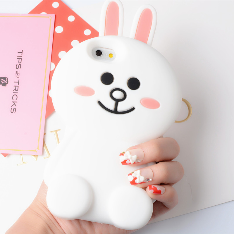 Hot!Cartoon rabbit silicon phone case cover for apple iphone 7 case fashion soft back case for iphone 6