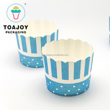 White Dots and Blue Stripes pattern mechanism paper Muffin Cup