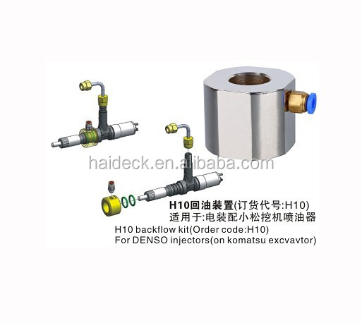 common rail Denso injector tool H10 backflow kit on Komatsu Excvavtor
