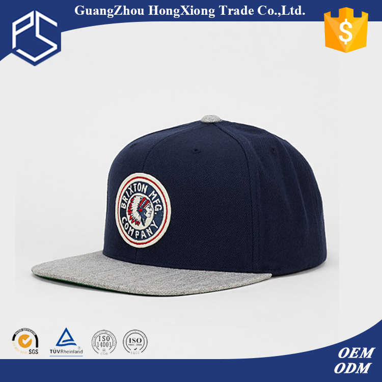 Fashion mens stylish patch embroidery blue cotton snapback hats