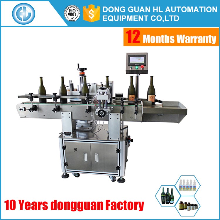 New HL-T401 Automatic Orientation Air Pressure Wrap Round Labeling Machine For Red White Wine Bottle Mineral Water