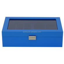 Blue Shiny Lacquered Wooden Cufflink Jewelry Storagre Box