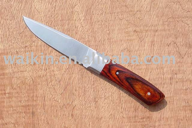 stainless steel hunting knife with wooden handle