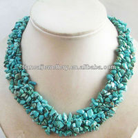 ###333 green turquoise semi-precious stone 17.5inch necklace jewelry
