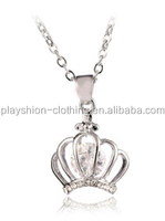 European and American fashion crystal necklace Diamond crown pendant charming necklace