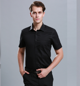 NEW PRODUCT 2018 100% Cotton Mens Short Sleeve Black Shirt