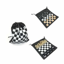 Promotion wooden checkers and chess set with bag game set