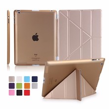 Flip Leather Case for iPad 4 3 2 Cover Smart Hard PC Back Cover for Apple iPad 2 3 4 Case PU Multi Fold Tablet PC Stand