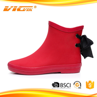 Red decorative woman rain boots brand shoes