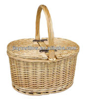 Portable and convenient oval willow picnic wicker basket set with handle