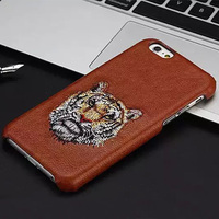 Lion Tiger Dog Eyes Lip Embroidery Leather Back Case For iPhone 6 Plus