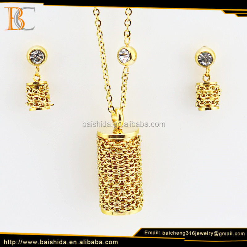 dubai trendy gold chains zircon stainless steel jewelry set for man