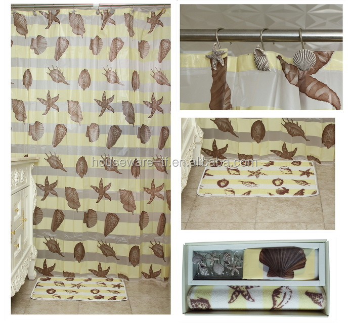 Seashell shower curtain with bath mat