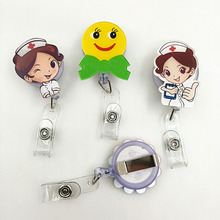 INFANTA JEWELRY Wholesale Smiling Face Easy To Pull Stretch Buckle Circle Telescopic Lanyard With Ego Ring Custom Button Brooch