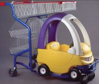 child/children silver metal shopping trolley with toy