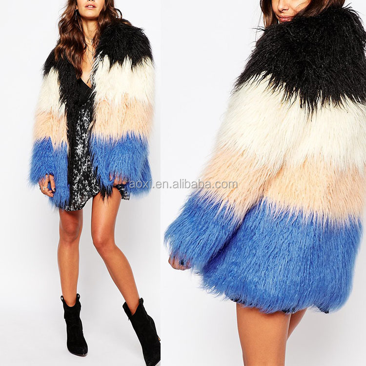 China Supplier Luxurious Nobel Colorblock Joint artificial long fur coat women fashion 2016