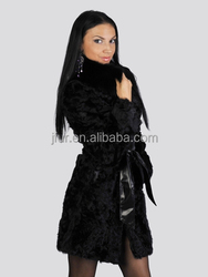Top Vintage Fox Neck Collar Lamb Fur Long Garment With Leather Winter Russian Ladies Luxury Fur Dress