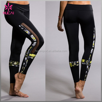 Custom Digital printing sexy women mesh yoga leggings black sport sweat mesh tight pants