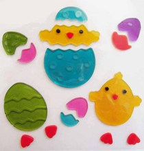 Plastic Gel cling Easter decorations Chick+egg,soft plastic 3D stickers