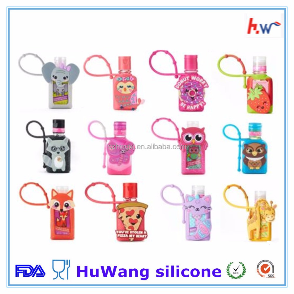 Portable customized different shape silicone hand sanitizer cover