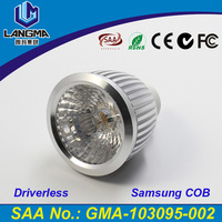 Langma 2016 Newest Hot Sale Super Bright Driverless 6063 Aluminum 6W AC COB LED Spotlight GU10