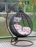 manufacture supply outdoor swing set for adult, round rattan outdoor bed