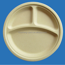 molded disposable bamboo fibers natrual plate