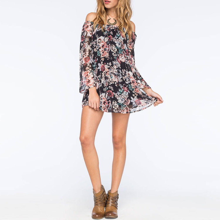 Fashion Chiffon Floral Dress Sexy Off Shoulder Dress for Women 2016