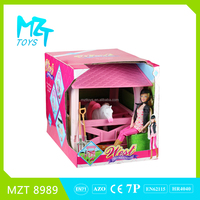 2016 New !Eco-friendly Plastic 11Inch Movable Joints Riding Barbie Girl+White Horse+Rectangle Stable+Tools Toys MZT8989