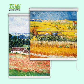 Wholesale oil painting window roller blinds personalized printed roller blinds